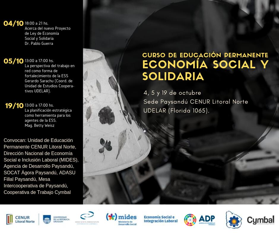 El 4 y 5 de Octubre comienza curso de Economía Social ySolidaria